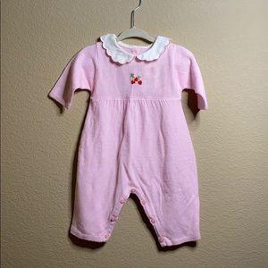 Vintage (ish) sweet baby girls pink knit onesie
